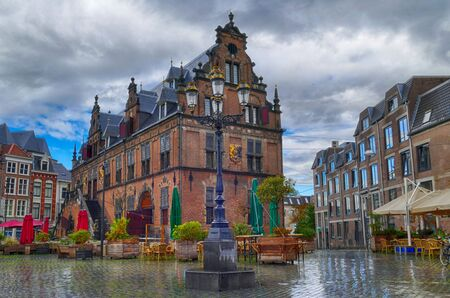 Historical marketplace and buildings in Nijmegen