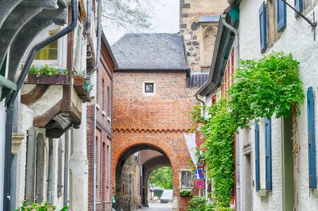 Narrow street in the historical center of Zons by the Rhine