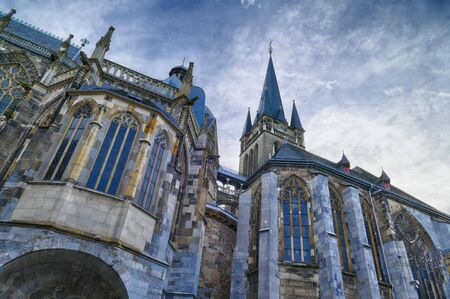 Historical cathedral facade in Aachen