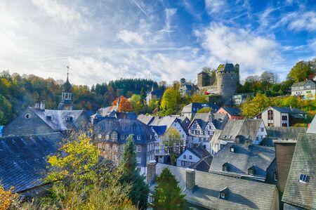 The old town of Monschau in the Eifel region 스톡 콘텐츠