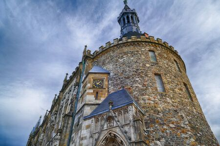 Historical city hall tower in Aachen