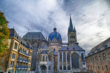 Court and historical cathedral in Aachen 스톡 콘텐츠