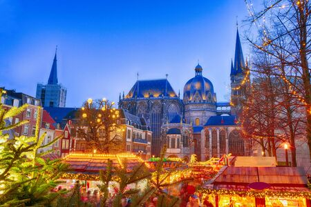 Christmas market around the historical cathedral in Aachen