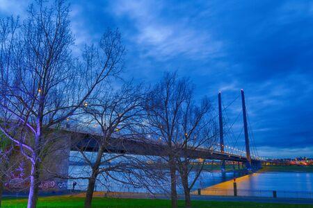 The Rhine and a bridge in Duesseldorf at night