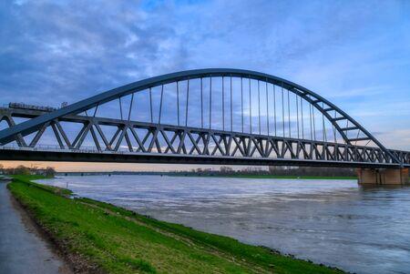 Railway bridge across the Rhine in Duesseldorf Hamm