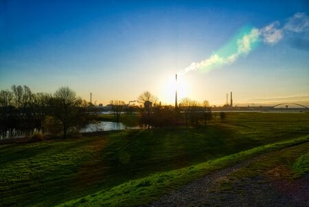 Rhine meadows and industrial zone in Hochfeld Imagens