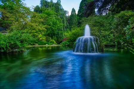 Fountain in a pond in a public park in Leverkusen