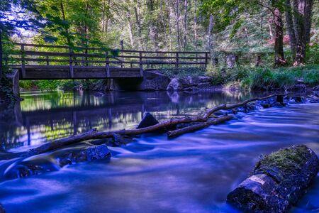 Creek and wood bridge in the Neandertal valley near Mettmann Imagens
