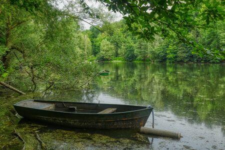 Supreme Fahr lake in the river estuary near Bergheim Stok Fotoğraf - 150417211