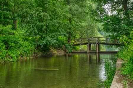 Bridge at the Diescholl confluence to the Rhine Stok Fotoğraf - 150417212