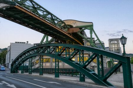Bridge under a historical overhead tram station in Wuppertal Stok Fotoğraf
