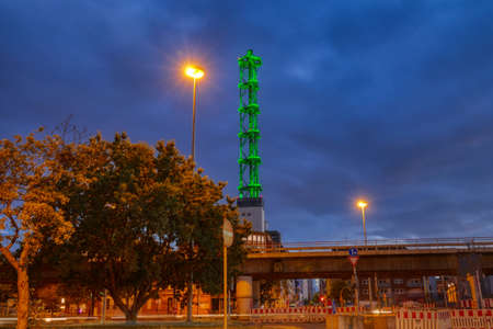 Iconic green chimney in an industrial zone in Duisburg in Germany Stok Fotoğraf - 150880048