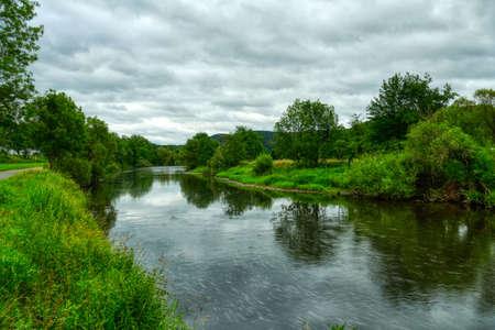 Hiking trail along the river Sieg near Dattenfeld Stok Fotoğraf