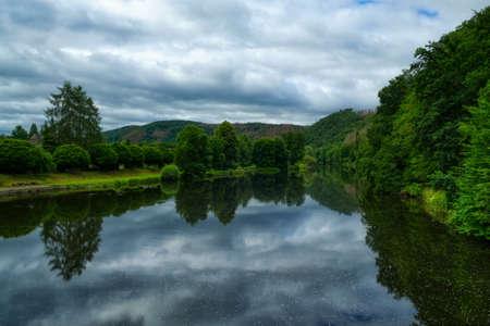 Valley of the river Sieg near Dattenfeld Stok Fotoğraf