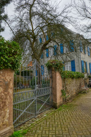 Old road and house in the historical center of Muelheim Saarn Stok Fotoğraf - 151308731