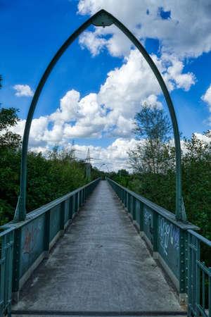 Pedestrian bridge at the Eller Forst near Duesseldorf Stok Fotoğraf