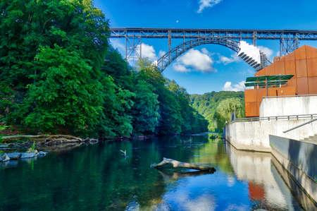 Historical railway bridge across the Wupper in Solingen Stok Fotoğraf