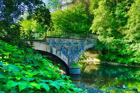 Historical stone bridge in the Wupper valley near Solingen