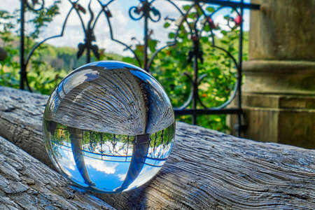 Lensball at historical vantage point and temple near Solingen Schaberg