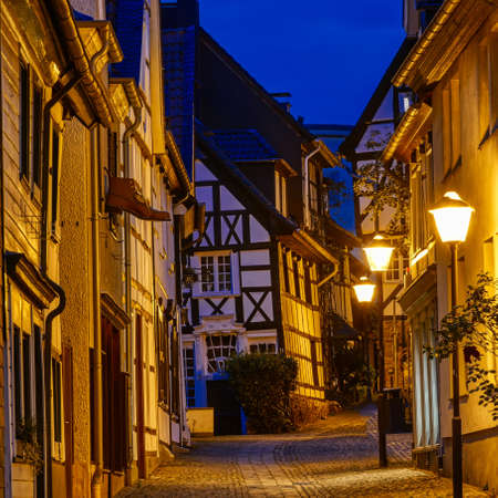 Street in the historical center of Essen Kettwig in Germany at night