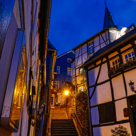 Stair and Half-timber house in the historical center of Essen Kettwig at night Stok Fotoğraf - 151899790