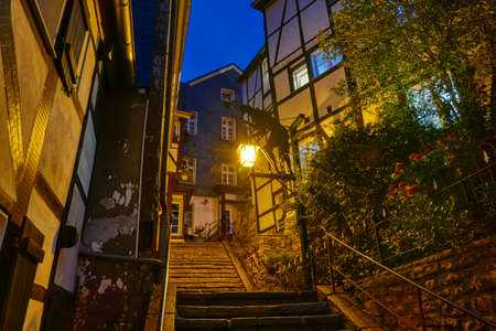 Stair in the historical center of Essen Kettwig at night Stok Fotoğraf - 151899791