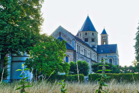 Historical garden and monastery church in Knechtsteden in Germany Stok Fotoğraf - 152163561