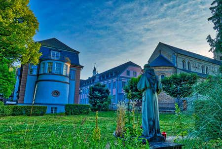 Historical monastery buildings and garden in Knechtsteden in Germany Stok Fotoğraf - 152141384