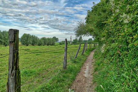 Hiking trail in the Rhine meadows near Duesseldorf Wittlaer Stok Fotoğraf - 152294588