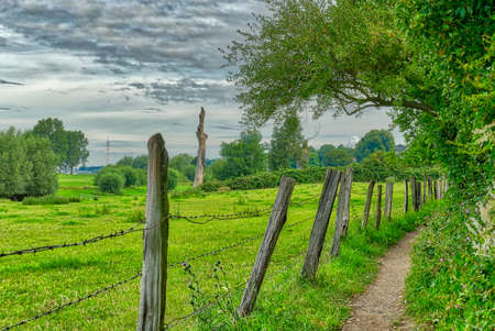 Landscape and hiking trail by the Rhine near Duesseldorf Wittlaer Stok Fotoğraf - 152294589