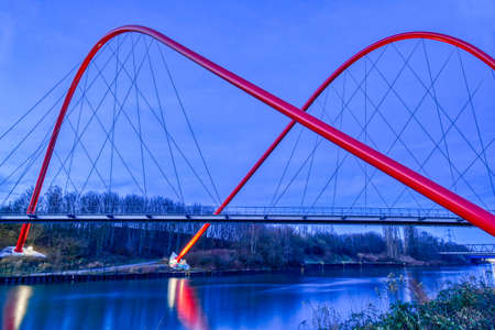 Landmark bridge in a public park in Gelsenkirchen at night