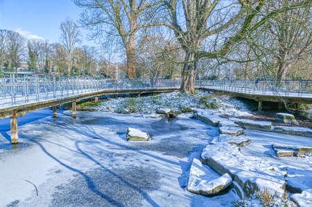 Winter in a public park in Dusseldorf