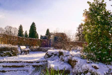 Garden with a bench in a public park in Dusseldorf in winter