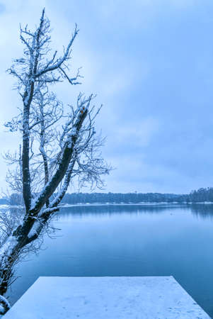 View at the snowy lake district in  in Germany