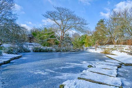 Frozen public park in Dusseldorf in winter Stok Fotoğraf