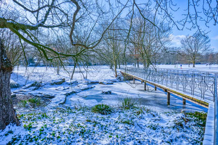 Popular public park in Dusseldorf in winter