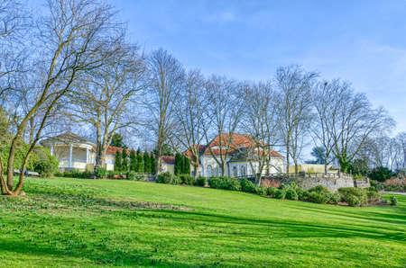 Building and terrace in a public garden in Essen Steele