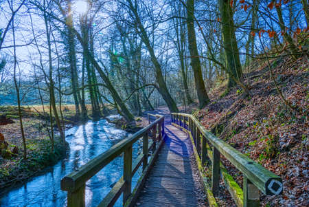 Hiking trail by the river Duessel near Haan, Gruiten