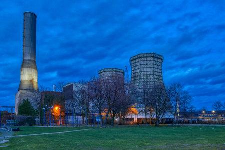 Cogeneration plans in Dusseldorf at night