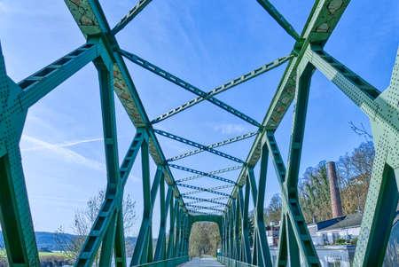 Historical frame bridge by the river Ruhr near Essen Steele