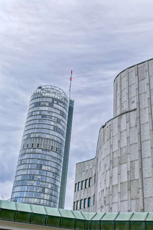 Modern architecture and high-rise building in downtown Essen Stok Fotoğraf