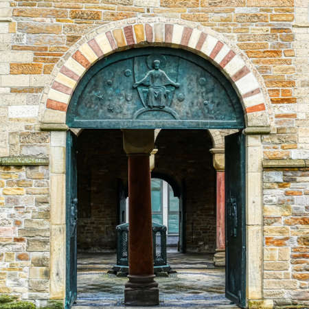 Entrance at the historical episcopal church in Essen Stok Fotoğraf