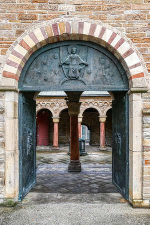 Entrance at the historical minster church in Essen