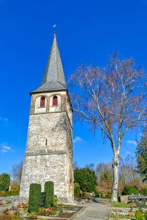 Church tower on a cemetery in Gruiten Dorf