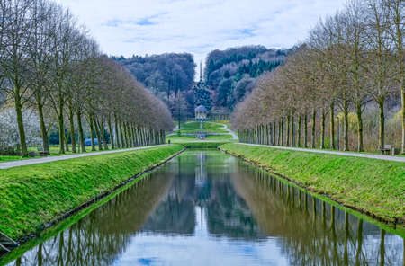 Historical park landscape and canal the Tiergarten zoo in Kleve