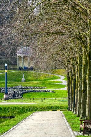 Path in a historical park in the Tiergarten zoo in Kleve