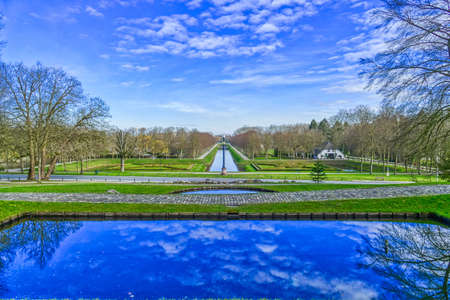 Panorama of a historical park at the Tiergarten zoo in Kleve