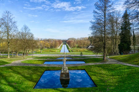 Historical park with waterbodies at the Tiergarten zoo in Kleve