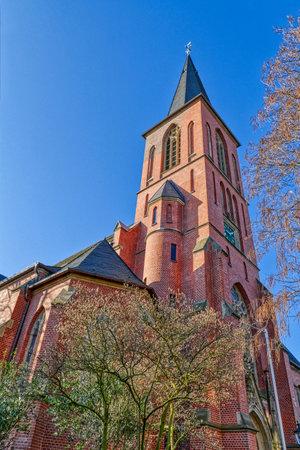 Historical church tower in Dusseldorf Eller