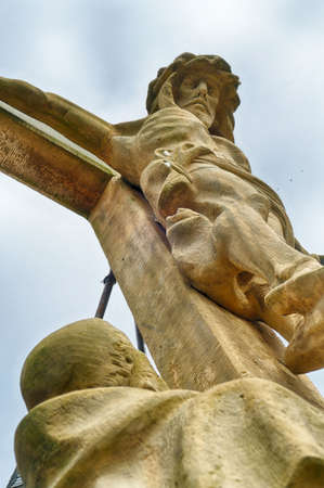 Religious statue at a historical monastery in Warburg